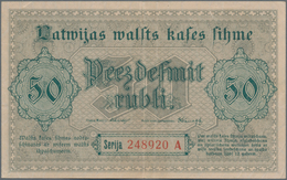 Latvia / Lettland: Latwijas Walsts Kaşes 50 Rubli 1919, P.6, Great Condition With Strong Paper And B - Lettland
