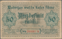 Latvia / Lettland: 50 Rubli 1919, P.6rare Banknote In Nice Condition With A Few Folds And Tiny Borde - Lettland