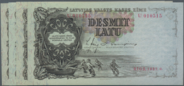 Latvia / Lettland: Highly Rare Set With 8 Banknotes Containing 100 Rubli 1919 Serial Number U153075 - Lettland