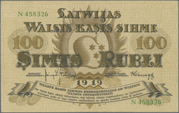Latvia / Lettland: 100 Rubli 1919, P.7f In Excellent Condition, Three Times Vertically Folded And Ti - Lettland
