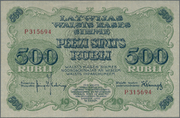 Latvia / Lettland: 500 Rubli 1920, P.8c, Highly Rare Banknote In Excellent Condition With A Vertical - Lettland