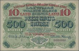 Latvia / Lettland: Latvijas Banka 10 Latu Overprint On 500 Rubli 1920 Front SPECIMEN, P.13s1 With Pe - Lettland