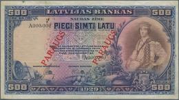 "Latvia / Lettland: Latvijas Bankas 500 Latu 1929 SPECIMEN, P.19s With Red Overprint ""PARAUGS"", Punch - Lettland"