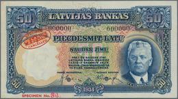 "Latvia / Lettland: Latvijas Bankas 50 Latu 1934 TDLR - SPECIMEN, P.20s2 With Red Oval Stamp ""Specime - Lettland"