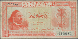 Libya / Libyen: Kingdom Of Libya 5 Piastres 1952, P.12, Lightly Toned Paper With Some Folds And Crea - Libyen