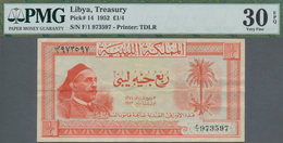 Libya / Libyen: Kingdom Of Libya ¼ Libyan Pound 1952, P.14, Still Great Original Shape With Strong P - Libyen