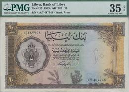 Libya / Libyen: Bank Of Libya 10 Pounds 1963, P.27, Great Original Shape With Bright Colors, PMG Gra - Libyen