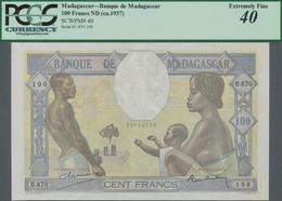 Madagascar: Banque De Madagascar 100 Francs ND(1937), P.40, Still Great Condition With A Few Stronge - Madagaskar