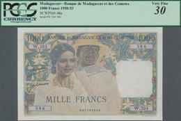 """Madagascar: Banque De Madagascar Et Des Comores 1000 Francs 1951, With Signature Title Above: """"Contr - Madagaskar"""