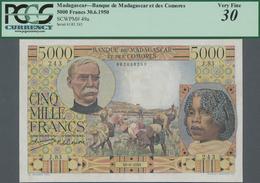 """Madagascar: Banque De Madagascar Et Des Comores 5000 Francs 1950 With Signature Title Left: """"Control - Madagaskar"""