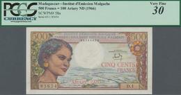 Madagascar: Institut D'Émission Malgache 500 Francs = 100 Ariary ND(1966), P.58a, Some Pinholes At L - Madagaskar