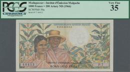 Madagascar: Institut D'Émission Malgache 1000 Francs = 200 Ariary ND(1966), P.59a, Tiny Pinholes At - Madagaskar