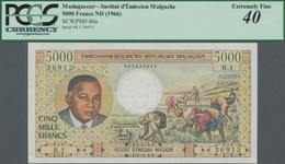 Madagascar: Institut D'Émission Malgache 5000 Francs ND(1966), P.60a, Tiny Repaired Part At Center, - Madagaskar