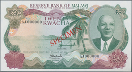 """Malawi: Reserve Bank Of Malawi 20 Kwacha 1983, P.17as With Red Overprint """"Specimen"""", Serial Number A - Malawi"""