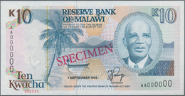 """Malawi: Reserve Bank Of Malawi 10 Kwacha 1992, P.25s With Red Overprint """"Specimen"""", Serial Number AA - Malawi"""