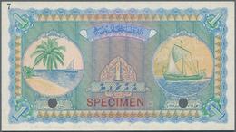 Maldives / Malediven: Maldivian State / Government Treasurer 1 Rufiyaa 1947 SPECIMEN, P.2as With Spe - Maldiven