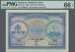 Maldives / Malediven: Maldivian State 50 Rufiyaa 1960, P.6b, Perfect Condition, PMG 66 Gem Uncircula - Maldiven