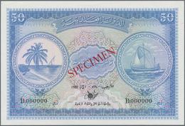 Maldives / Malediven: Maldivian State / Government Treasurer 50 Rufiyaa 1980 SPECIMEN, P.6cs, Zero S - Maldiven