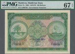 Maldives / Malediven: Maldivian State 100 Rufiyaa 1960, P.7b In Perfect Condition And With A Very Hi - Maldiven