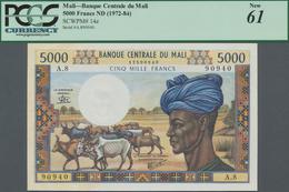 Mali: Banque Centrale Du Mali 5000 Francs ND(1972-84), P.14e, Completely Unfolded, Just A Larger Sta - Mali
