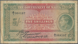 Malta: The Government Of Malta 5 Shillings 1939, P.12, Lightly Toned Paper And Several Folds. Condit - Malta