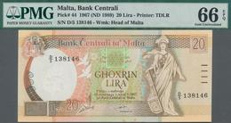 Malta: Bank Centrali Ta' Malta Set With 4 Banknotes Comprising 10 Liri ND(1986) P.39 PMG 64 EPQ, 20 - Malta