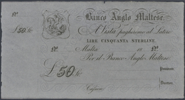 Malta: Banco Anglo Maltese Unsigned Remainder For 50 Pounds ND(1880), P.S116r In Excellent Condition - Malta