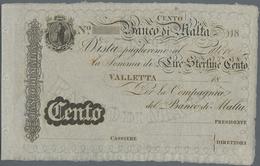 Malta: Banco Di Malta 100 Lire Sterline 18xx Remainder, P.S165r, Unfolded With A Few Minor Spots And - Malta