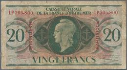 Martinique: Caisse Centrale De La France D'Outre-Mer 20 Francs L.1944, P.24, Rusty Pinholes, Margin - Bankbiljetten