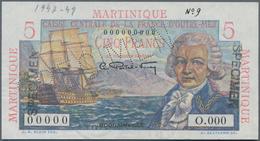 Martinique:  Caisse Centrale De La France D'Outre-Mer 5 Francs ND(1947-49) SPECIMEN, P.27s With Zero - Bankbiljetten