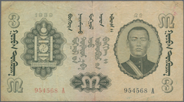 Mongolia / Mongolei: Pair With 1 Tugrik 1939 P.14 (F/F+) And 3 Tugrik 1939 P.15 (F). (2 Pcs.) Rare! - Mongolei