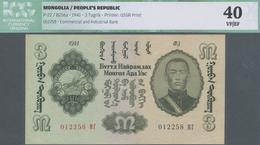 Mongolia / Mongolei: 3 Tugrik 1941, P.3, Great Original Shape With A Few Tiny Spots And Soft Folds O - Mongolei