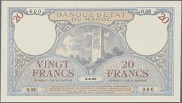 Morocco / Marokko:  Banque D'État Du Maroc 20 Francs 1920-26 Front Proof SPECIMEN, P.12s In Perfect - Marokko