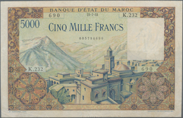 Morocco / Marokko: Banque D'État Du Maroc 5000 Francs 1953, P.49, Lightly Pressed With Small Margin - Marokko