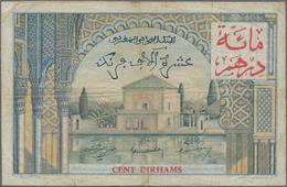 Morocco / Marokko: Banque D'État Du Maroc 100 Dirhams On 10.000 Francs 1955 (1959), P.52, Small Marg - Marokko