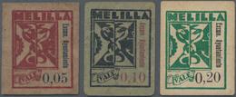 Morocco / Marokko: Melilla - Excmo. Ayuntamiento. 5, 10 & 20 Centimos Cardstock Fractionals, ND, P.N - Marokko