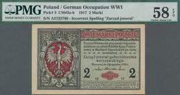 "Poland / Polen: State Loan Bank, German Occupation WW I, 2 Marki 1917, Title On Front Reads ""Zarząd - Polen"