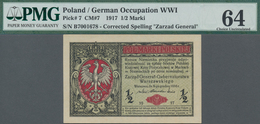 "Poland / Polen: State Loan Bank, German Occupation WW I, 1/2 Marki 1917, Title On Front Reads ""Zarzą - Polen"