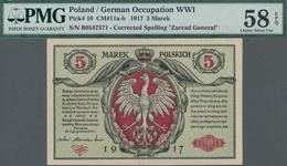 "Poland / Polen: State Loan Bank, German Occupation WW I, 5 Marek 1917, Title On Front Reads ""Zarząd - Polen"