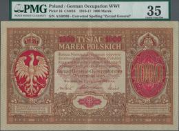 "Poland / Polen: State Loan Bank, German Occupation WW I, 1000 Marek 1916, Title On Front Reads ""Zarz - Polen"