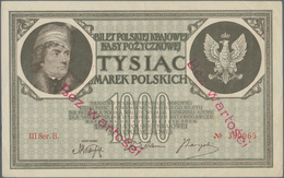 "Poland / Polen: 1000 Marek 1919 With Red Overprint ""Bez Wartosi"", P.22 (Milczak 22i) In XF Condition - Polen"