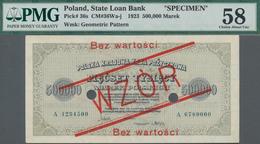 "Poland / Polen: State Loan Bank 500.000 Marek 1923 SPECIMEN, P.36s With Red Overprint ""WZOR"" And ""Be - Polen"