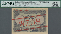 "Poland / Polen: Ministry Of Finance 2 Zlote 1925 SPECIMEN, P.47s With Red Overprint ""WZOR"" And ""Bez - Polen"