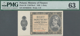 Poland / Polen: Ministry Of Finance 1 Zloty 1938, P.50, Serial Number IH 7082019, Minor Repairs At U - Polen