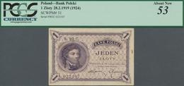 Poland / Polen: Bank Polski 1 Zloty 1919 (1924), P.51, Great Original Shape With A Small Stain At Ri - Polen