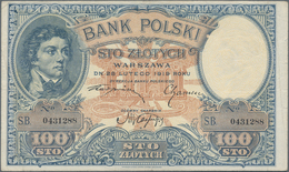 Poland / Polen: Pair With 100 Zlotych 1919 (F+/VF) And 500 Zlotych 1919 (XF+/aUNC), P.57, 58. (2 Pcs - Polen