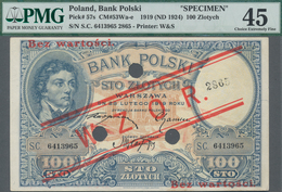 "Poland / Polen: Bank Polski 100 Zlotych 1919 (ND 1924) SPECIMEN, P.57s With Red Overprint ""WZOR"" And - Polen"