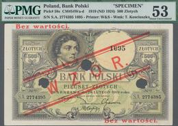 "Poland / Polen: Bank Polski 500 Zlotych 1919 (ND 1924) SPECIMEN, P.58s With Red Overprint ""WZOR"" And - Polen"