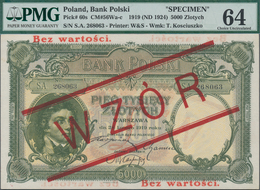 "Poland / Polen: 5000 Zlotych 1919 (ND 1924) SPECIMEN, P.60s With Red Overprint ""WZOR"" And ""Bez Warto - Polen"