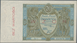 "Poland / Polen: Bank Polski 20 Zlotych 1926 SPECIMEN, P.66s With Red Overprint ""Wzor"" And ""Bez Warto - Polen"
